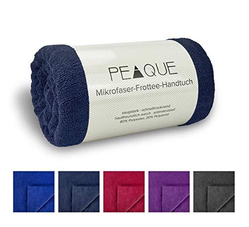 Mikrofaser Frottee Handtücher-Set XXL, Dusch-handtücher, Fitness-tücher, Sport-tücher (Petrol, Marine-blau, Navy, 100 x 200 cm, 2 x)