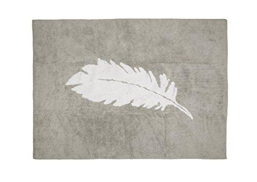 Aratextil. Alfombra Infantil 100% Algodón lavable en lavadora Colección Pluma gris_blanco 120x160...
