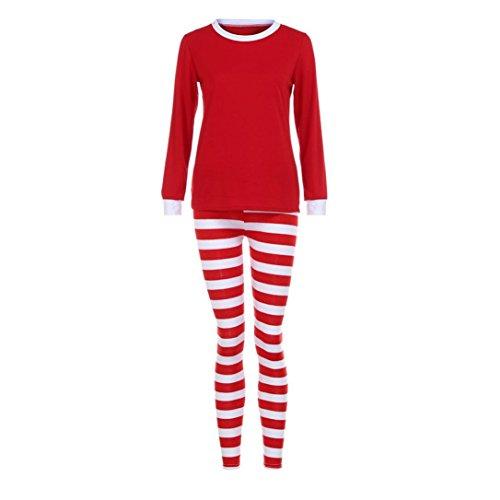 Elecenty Damen Schlafanzug Nachtwäsche Paar Familie Jumpsuit Pyjamas Frauen Herren Langarm Weihnachten Bluse Hose Set Winter Streifen Warm lang Hosenanzug Sleepwear (S, Damen Rot)