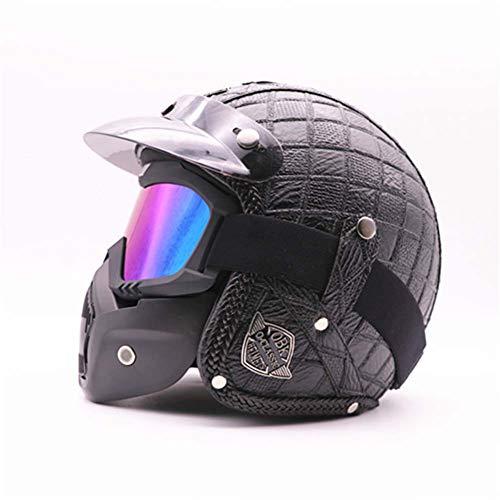 Preisvergleich Produktbild LIYAN Anti-Kolliantie Motorrad-Helme Maske,  Full Face Helmet Open-Face Off-Road Anti-Kollision Helm Kit Adult Highway Helm, C, L(59~60cm)