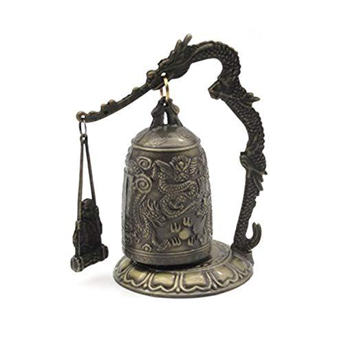 laonBonnie Dragon Bell Hang Dekoration buddhistische Glocke Ornament viel Glück Glocke Bronze Sperre Mönch Home Office Dekoration Kunstwerk - Golden -