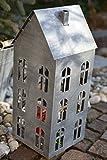 Maison en France Lichterhaus groß-Laterne für drinnen und draussen- Höhe 44,5 cm- modernes Windlicht in grau -im Landhausstil-frostsicher