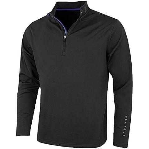 Uomo PGA Tour Golf Allungabile Termico 3/4 Zip Maglione, PGA Logo Stampato, Ufficiale Con licenza golf Range - Nero, XX-Large