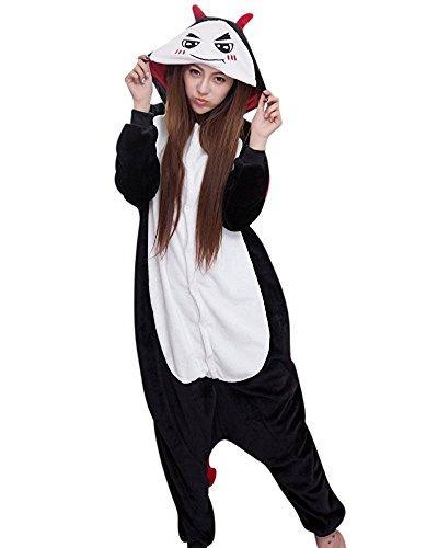 Teufel Plüschkostüm Einteiler Jumpsuit für Erwachsense - Schwarz/Weiß - Gr. (Weißen Schwarzen Kostüme Und Halloween Mann Mann)