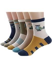 Chinashow - Calcetines de algodón multicolor, sin costuras, antideslizantes, finos, transpirables, para niños, niños pequeños, niñas, niñas, 5 pares, coche de guerra