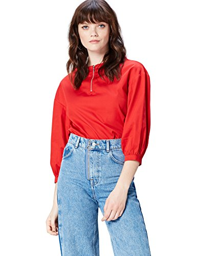 FIND Blusa con Cerniera Donna Rosso (Red)