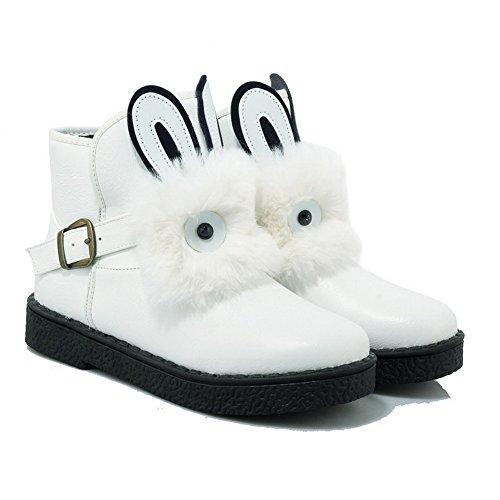 VogueZone009 Damen Rund Zehe Niedriger Absatz Niedrig-Spitze Eingelegt Stiefel mit Schnalle Weiß