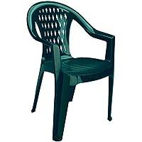 Igap 102I Chaise empilable verte, structure en plastique, vert forêt, dimensions L 55 cm x H 80 cm x P 60cm