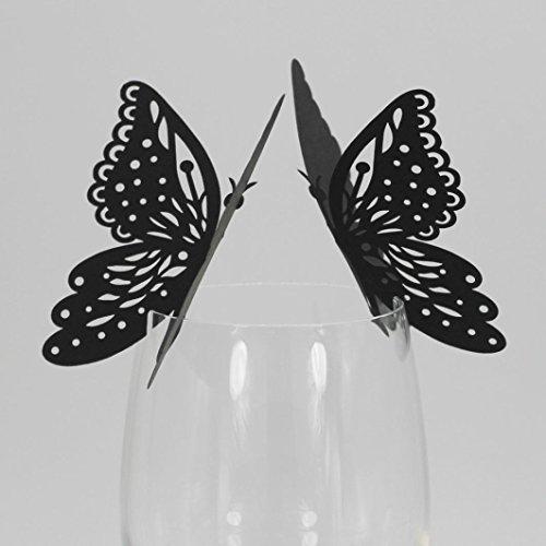 50 stücke Schmetterling Tisch Mark Weinglas Name Tischkarte Hochzeit Decor Weinglas Cup Deko Dekoration Tisch Papier Karte Weinglas Tischkarte für Hochzeit Party Dekoration (Black)