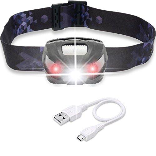 LED Stirnlampe, Akale USB Wiederaufladbare LED Kopflampe , 5 Lichtmodi, 150LM, wasserdicht, 1200mAH Batterien, Perfekt fürs Camping, Outdoor und Sport,inklusive USB Kabel