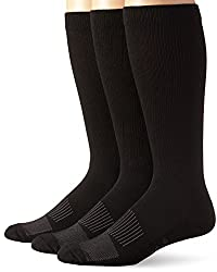 Wrangler Mens Western Boot Socks, Black, Large(Pack of 3)