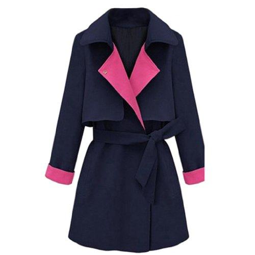 Frauen Leinen Umlegekragen Langarm Spleiss-Farbe Mantel mit Gurt Nachtblau