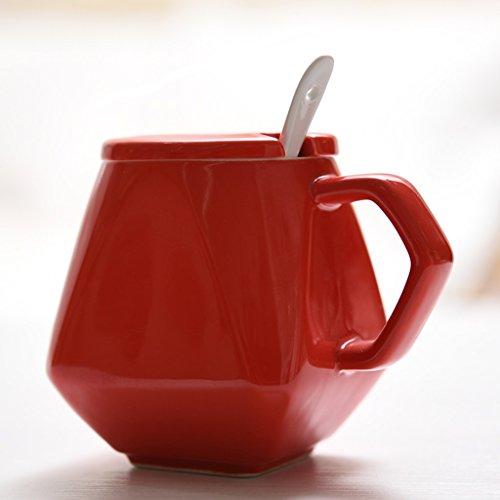 Coupe rhombique simple créative tasse géométrique de couleur unie tasse de lait en céramique tasse avec cuillère de couvercle tasse de café personnalisée tasse de bureau à domicile (Color : Red)