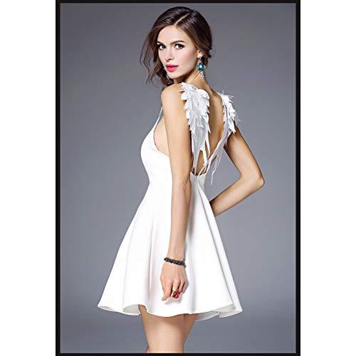 QAQBDBCKL Freies Schiff Weiß/Schwarz Winkel Flügel Stickerei Rückseite Strap Mini Dress Urlaub/Club Sexy Kurzen Dress