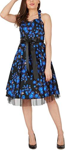 Black Butterfly 'Rhya' Vintage Harmony Kleid im 50er-Jahre-Stil Blaue Rosen