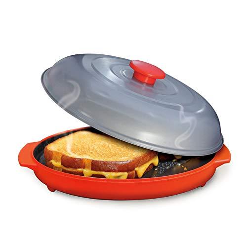 Tellaboull Bandeja para Asar Microondas Parrilla para microondas Bandeja para Frutas y Verduras con Tapa para cocinar en el microondas Cocinar a la Parrilla Uso del Horno