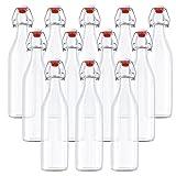 Lot de 12 Bouteilles en Verre / Bouteille en verre avec couvercle - 530 ml Bouteille Verre Transparent pour Jus Frais, Vins, Condiments et Plus - bouteilles en verre avec bouchon à étrier