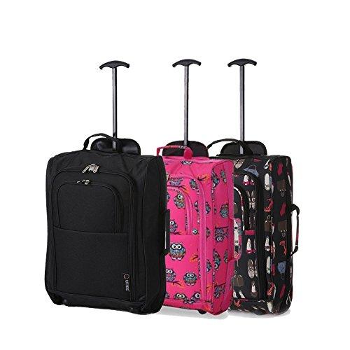 Lot de 3 Super Léger de Voyage Bagages Cabine Valise Sac à Roulettes (Noir + Chouettes Rose + Des sacs & Chaussures ( Noir )