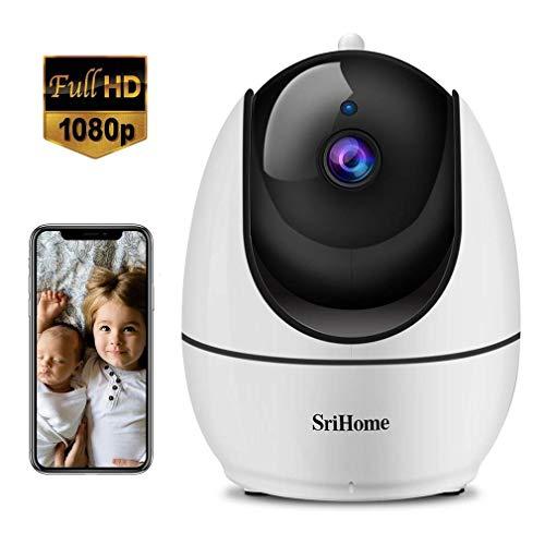 SriHome Wlan Kamera 1080P für Zuhause/ Hund Katze/ Baby, WiFi Überwachungskamera mit Nachtsicht, Sprechanlage, Bewegungserkennung, Mobile App Kontrolle