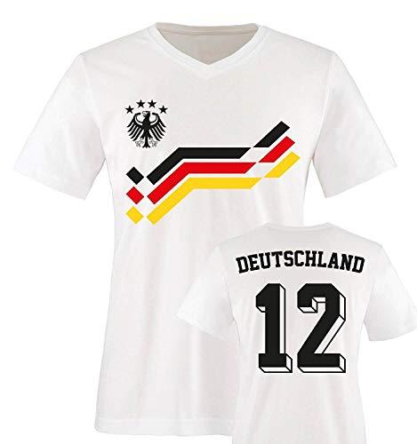 EM 2016 - Retro-Trikot - Deutschland - 12 - Herren V-Neck T-Shirt - Weiss/Schwarz-Rot-Gelb Gr. XXL