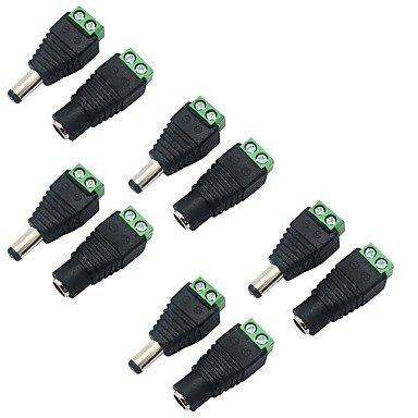 Fünf Licht Wandleuchte Strip (Packung 5 5,5 x 2,1 mm barrel Leistung 12V männlichen zu weiblichen DC-Netzanschlussadapter Anschlussstecker für Überwachungskamera)