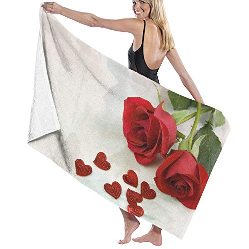 "Ewtretr Strandtücher Sweet Love Rose Beach Towels Polyester Quick Dry Soft Bath Sheets,Summer Premium Pool Large Bath Towels for Yoga Mat Beach Cover Blanket 31.5"" X 51.2\"""