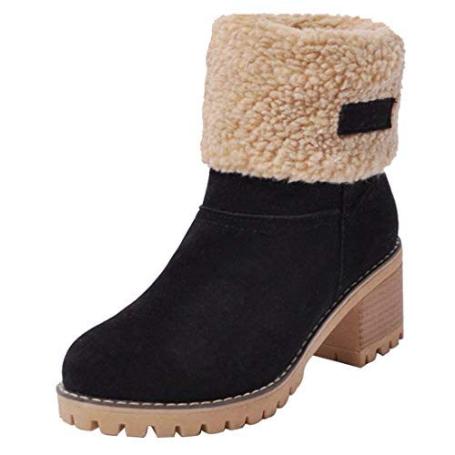 GOUPSKY Snow Boots Women Mid Heel Shoes Faux Suede Fur Lined Winter Warm  Short Block Ankle 7b9177335b