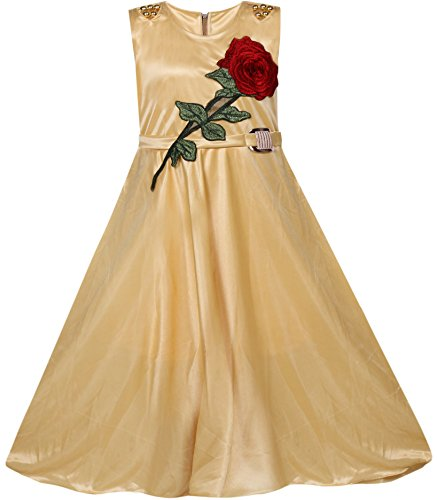 BENKILS Cute Fashion Baby Girl's Lycra Party Wear Frock Dress for (Skin, 12-15 Years)