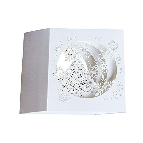 Maxgoods 10 pezzi cartoline di natale in 3d, biglietto di auguri fatti a mano, carta albero di fiocchi di neve per la festa, vacanze, anniversario, compleanno, san valentino, matrimonio, regalo