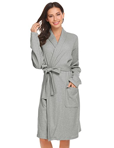 Baumwolle Lange Ärmel Robe (Bademantel Pagacat Morgenmantel Damen Schal Kragen Wrap Robe Langarm Nachtwäsche mit Gürtel, Grau 2, Gr. M)