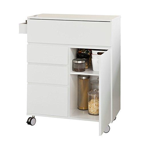 SoBuy® Carrello cucina, Credenza con 4 cassetti e 2 ante, con route, bianco, FKW39-W,IT