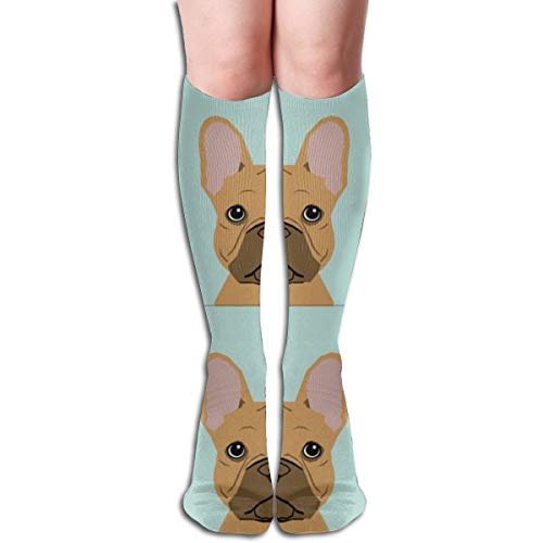 Women's Fancy Design Stocking Frenchie Fawn With Cut Lines Dog Panel, Dog, Cut And Sew Multi Colorful Patterned Knee High Socks 19.6Inchs -