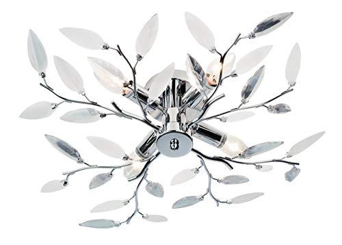 Nino Leuchten Deckenleuchte Nottingham/Durchmesser: 60 cm, Höhe: 15 cm/chrom, Dekorglas klar/satiniert weiß / 4-flammig 63180406