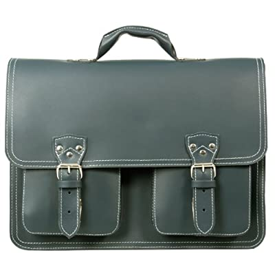 HIDEONLINE RUGGED THICK BLACK/BROWN/RED/BLUE/MUD BROWN LEATHER LARGE SATCHEL - laptop-briefcases, laptop
