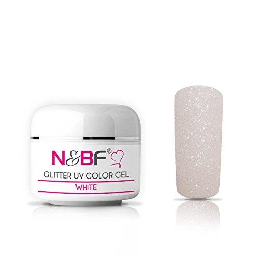 N&BF Glitter UV Gel 5ml mittelviskos | Glittergel Weiß/White | Made in EU | Glitzer Farbgel Weiss | Colorgel ohne Säure + selbstglättend | Glimmer Gel für Gelnägel | Nagelgel glitzernd