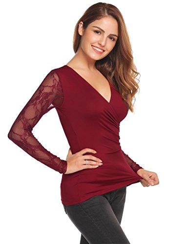 Meaneor Damen T-Shirt mit Blumenspitze Langarmshirt Spitzenshirt V Ansatz Blusen mit Rüschen für OL Business Party S-XXL Weinrot
