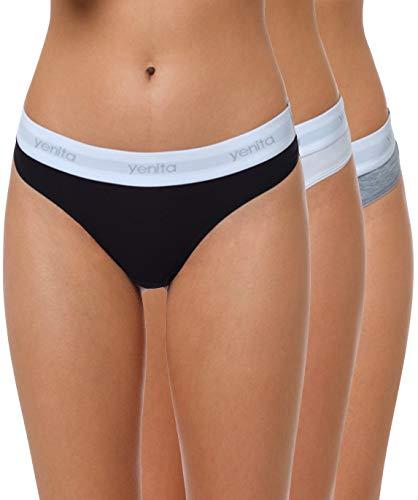 Yenita 3er Set Damen Underwear Modern-Sports-Collection, String, Gemischt (Schwarz/Weiss/Grau), Gr.XL