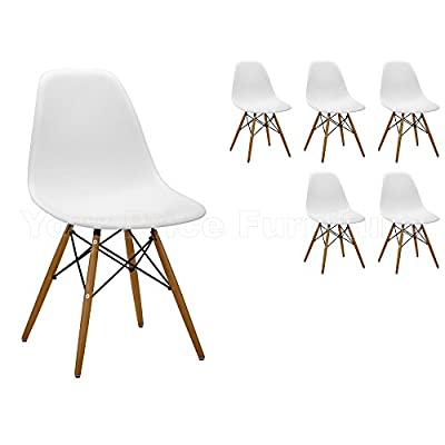 6 White Eames Inspired ABS Dining Chairs - DSW Eiffel Side Dining Chairs Exclusively by Your Price Furniture in Quality ABS Moulded Plastic with Beech Legs
