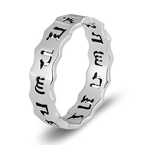 DOLOVE 925 Sterling Silber Ring Herren Partnerringe Schwarz Herrenringe Punk Silber Ring Sechs Mentra Buddhismus Herrenringe Größe 66 (21.0)