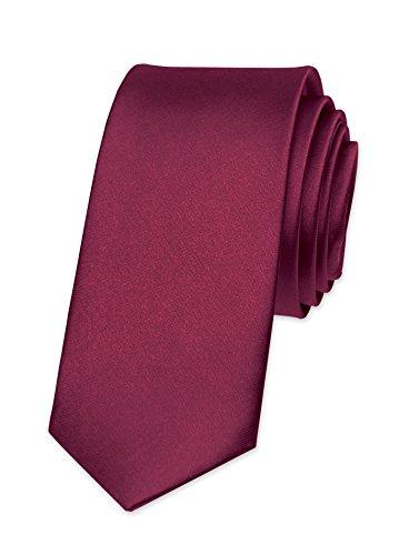 Autiga Krawatte Herren Hochzeit Konfirmation Slim Tie Retro Business Schlips schmal bordeaux