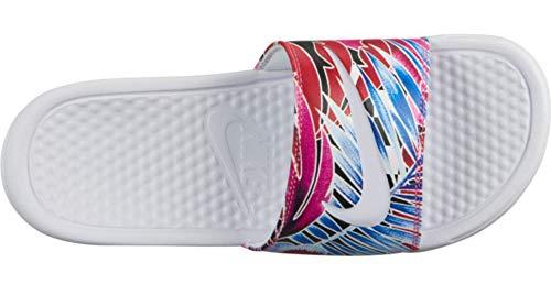 Nike Wmns Benassi JDI Print, Scarpe da Spiaggia e Piscina Donna, Multicolore (White/Habanero/Ember Glow/Game Royal 113), 35.5 EU