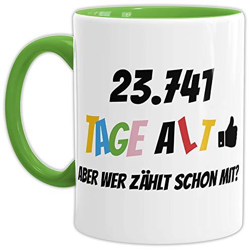 Geburtstags-Tasse '23741 Tage alt - aber wer zählt schon mit' Geburtstagsgeschenk zum 65....