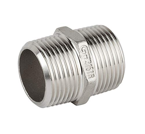 Double nozzle fitting with stainless steel male external thread V4A
