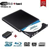 Lettore Masterizzatore Blu Ray Dvd,3D USB 3.0 Blu Ray Esterno Portatile Ultra Sottile CD/Dvd RW Lettore Disco per Laptop/Desktop MacBook, Win 7/8/10, Linux