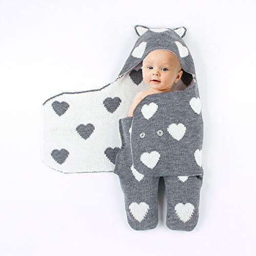 TFACR Neugeborenes Baby Swaddle Decke, weiche warme Decke Swaddle Schlafsack Schlaf für Jungen und Mädchen, Baby Hug Folding Sleeve Neugeborenen Split Bein Schlafsack (grau) -