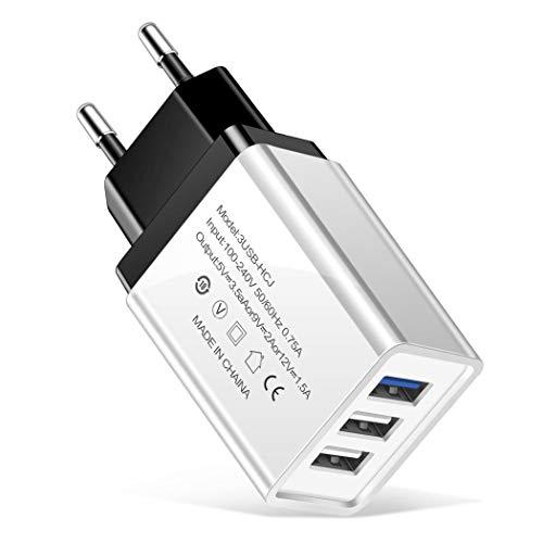 Sisaki Leichte tragbare US-EU-Stecker 3 USB-Ports Handy-Ladegerät Ladegeräte