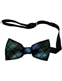 Mens Bow Tie Soft Wool Woven And Made in Scotland in MacDuff Modern Tartan Adjustable Strap for Easy Fastening