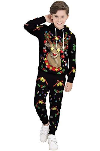 BesserBay Jungen Weihnacht Kapuzenpullover Unisex Langarm Sweatshirt Rentier Kapuzenjacke Oberteil + Hose Rudolph