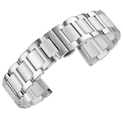 Luxus Keramik Uhrenarmband Ersatz Edelstahl Keramik Uhrenarmband Links Uhrenarmbänder Herrenuhr Armband mit Schmetterlingsschnalle Silber & Weiß 20mm - Uhrenarmband Tissot Edelstahl