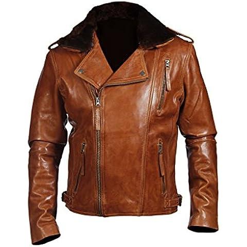 Broncear Marron corta ocasional del motorista del cuero de Nappa chaqueta corta de los hombres